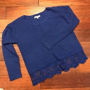Gianni Bini blue sweater with lace-like detail.